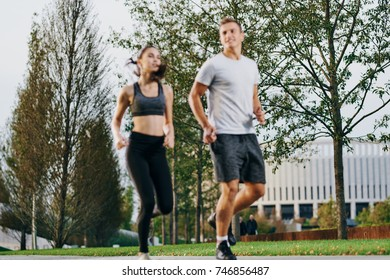 jogging, sports, athletics, athletes running around the park., healthy lifestyle