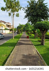 Jogging track on the edge of the park