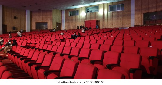 Jogja, Indonesia - 8 april 2019 : audience and Red seats in a empty theater and opera