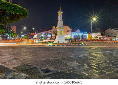JOGJA JULY 12, 2019: A monument that is very popular in Jogja namely Tugu. Always crowded with visitors every day, especially on weekend days.