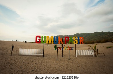 Jogjakarta, Indonesia 09/2017 : Gumuk Pasir (Sand Dune), a popular tourist destination in Jogjakarta. The main attraction is sand dune both for viewing, photo spot, or sports activities.