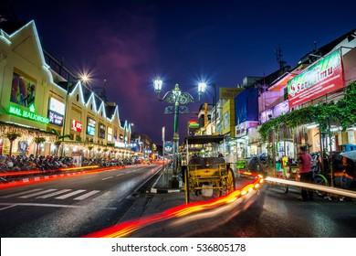 Jogjakarta, Indonesia - 2 September 2015: sundown at colorful & busy Malioboro street of Jogjakarta, Indonesia