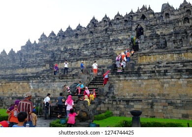 JOGJAKARTA, INDONESIA - APRIL 16, 2016: Tourist flocking the Borobudur Temple which located about an hour drive from central Jogjakarta.