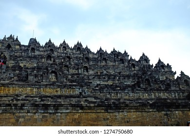 JOGJAKARTA, INDONESIA - APRIL 16, 2016: Dating from the 8th and 9th centuries,  Borobudur temple is located about an hour drive from central Jogjakarta.