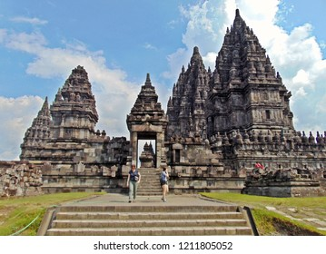 Jogjakarta, Indonesia. April 2017: two tourists walked out of the Prambanan temple area