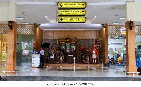Jogjakarta, Indonesia - February 7, 2018: Golden Carts or Kereta Kencana at Adisutjipto International Airport.