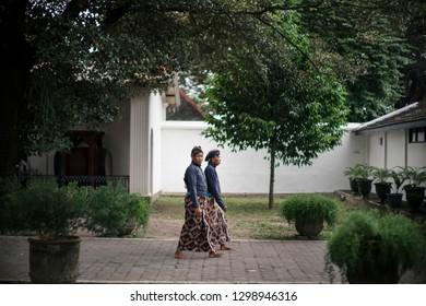 Jogjakarta / Indonesia - July 24, 2016 : Portrait servant of Jogjakarta Palace. servant also called abdi dalem.