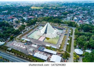 Jogjakarta / Indonesia - July 2nd, 2019: Aerial View of Monument to the Recapture of Yogyakarta (Monjali / Monumen Jogja Kembali), a Historical Building in a Cone Shape