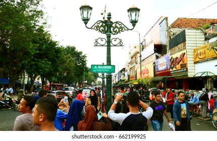 Jogjakarta, Indonesia - July 7, 2016: Malioboro street or Jalan Malioboro. Name of the street that become a iconic of Jogjakarta city. The most famous street is alive 24 hours a day.