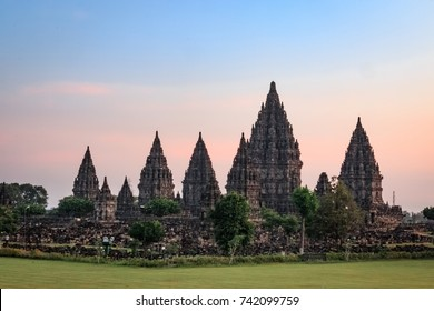 JOGJAKARTA, INDONESIA - JUNE 10, 2017 : The temple of Prambanan, the world's largest hindu temple, at sunset