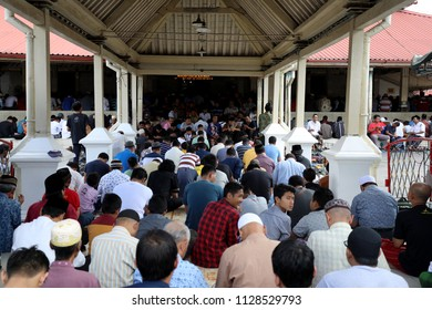 Jogjakarta, Indonesia - June 22, 2018: Worshippers fill Kauman Great Mosque for Friday prayers, close to the Sultan's Palace in Jogjakarta