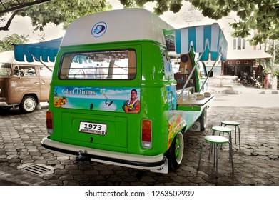 Jogjakarta / Indonesia - March 9, 2012 : Volkswagen Kombi T2 Highroof,  Foodtruck concept.