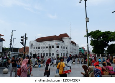 Jogjakarta, Indonesia - November 19, 2018 : BNI Building is one of landmark on Jogjakarta Zero Point. It is a colonial building built in 1923