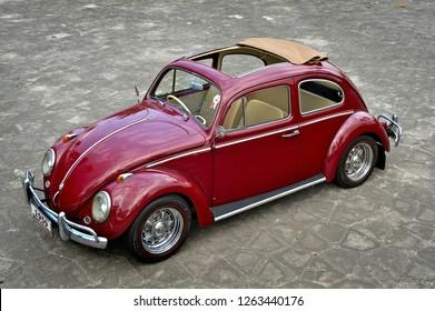 Jogjakarta / Indonesia - November 30, 2011 : Volkswagen Beetle Ragtop 1959.