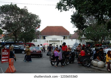 Jogjakarta - November 18, 2018. Tourists visited Fort Vredeburg. It was a former colonial fortress located in the city of Jogjakarta.