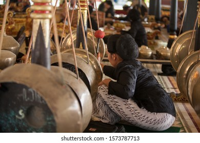 Jogjakarta,Indonesia,July 6,2019.Gamelan is the traditional ensemble music of  Javanese, made up predominantly of percussive instruments.