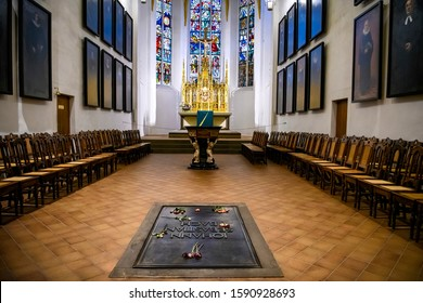 Johann Sebastian Bach grave inf Lutheran St. Thomas Church Thomaskirche in Leipzig, Germany. November 2019