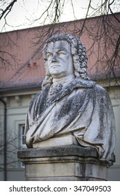 Johann Sebastian Bach lived some years in the town Koethen, Germany. A monument stands outside the house where he lived 1719-23. The sculpture was designed by Heinrich Pohlmann in 1885.