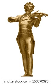 Johann Strauss Golden Statue in Vienna StadtPark isolated on white