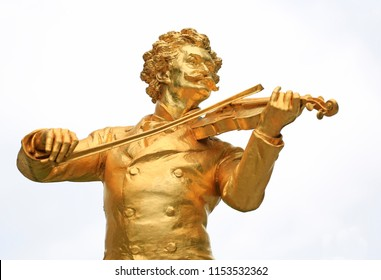 Johann Strauss II statue isolated on white background in Stadtpark, Vienna