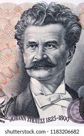 Johann Strauss portrait from old Austrian money