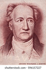 Johann Wolfgang von Goethe (1749-1832) face portrait on Germany 20 mark (1964) banknote closeup. Genius German writer, poet, novelist and playwright.
