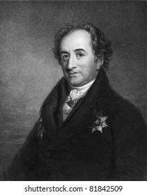 Johann Wolfgang von Goethe (1749-1832). Engraved by J.Pofselwhite and published in The Gallery Of Portraits With Memoirs encyclopedia, United Kingdom, 1833.