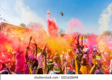 Johanneburg, South Africa,  05/21/2017, Young people having fun at The Color Run 5km Marathon, Bright color paint all over a large crowd