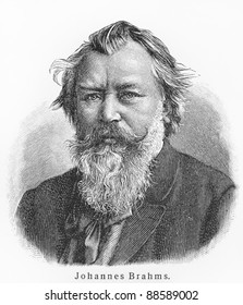 Johannes Brahms - Picture from Meyers Lexicon books written in German language. Collection of 21 volumes published between 1905 and 1909.