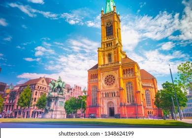 Johannes Church in Dusseldorf. Dusseldorf, North Rhine-Westphalia, Germany.