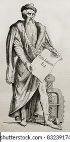 Johannes Gutenberg bronze statue in Strasbourg, old illustration. Sculpted by D'Angers, published on Magasin Pittoresque, Paris, 1840