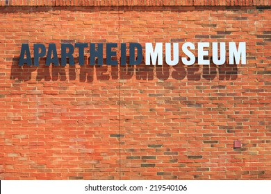 JOHANNESBURG, AUGUST 21: Apartheid Museum sign on August 21, 2014 in Johannesburg. The Apartheid Museum is dedicated to illustrating apartheid and the 20th century history of South Africa