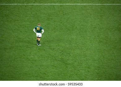 JOHANNESBURG - AUGUST 21: Brian Habana waits for play during the Tri-Nations rugby clash against the New Zealand All Blacks on August 21, 2010 in Johannesburg. NZ beat SA by 29 points to 22.