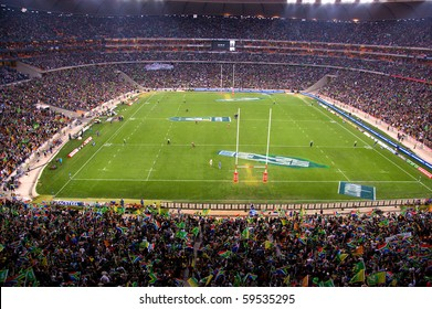 JOHANNESBURG - AUGUST 21: The largest crowd attendance at any South African Rugby game on August 21, 2010 in Johannesburg.  NZ beat SA at the FNB stadium by 29 points to 22 to win the 2010 Tri-Nations.