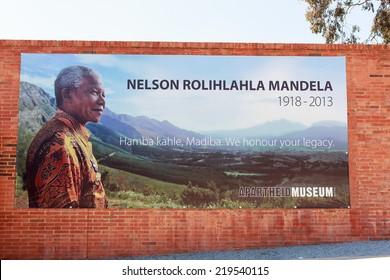 JOHANNESBURG, AUGUST 21: Nelson Mandela poster in Apartheid Museum on August 21, 2014 in Johannesburg.