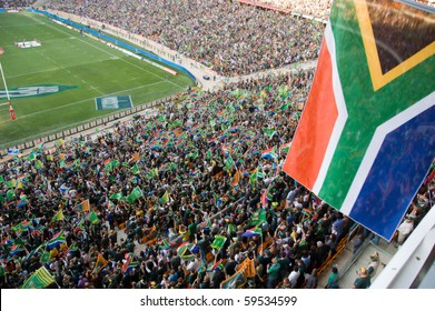JOHANNESBURG - AUGUST 21: The South African flag at the FNB Stadium in Soweto on August 21, 2010.  The game set the record for the highest attendance at a South African Rugby match.