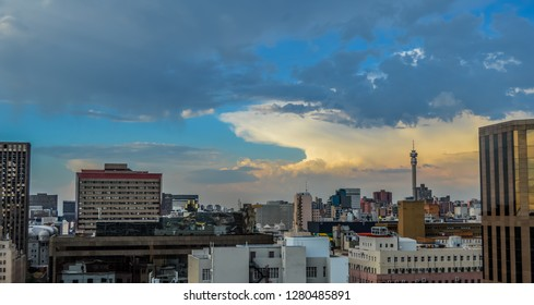 Johannesburg central business district during sunset
