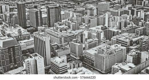 Johannesburg Central Business District has the most dense collection of skyscrapers in Africa. Johannesburg from aerial view. Old photo. Retro. Vintage Johannesburg, South Africa - December 21, 2013
