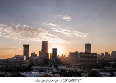 Johannesburg City Skyline during sunset