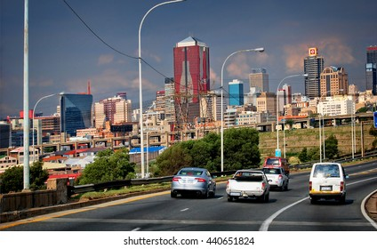 Johannesburg cityscape. City Business District. Modern road infrastructure. Johannesburg began as a gold-mining settlement. Nowadays it's the biggest city of South Africa. Johannesburg - Dec 21, 2013
