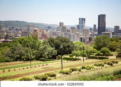Johannesburg cityscape as seen from Sandton Park
