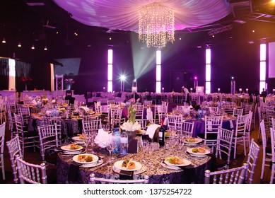 Johannesburg Gauteng South Africa 06092010 pink chandelier gala dinner formal setting decor