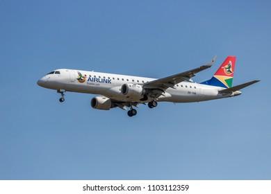 Johannesburg, Gauteng, South Africa, April 27,2018, Airlink Embraer Landing at OR Tambo