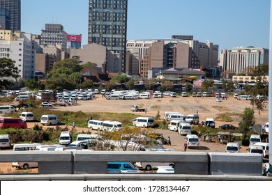 Johannesburg, Gauteng, South Africa May 08 2020, taxi station in city during national lockdown corona virus pandemic