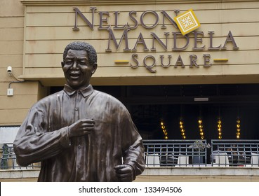 JOHANNESBURG - MARCH 10: Bronze statue of Nelson Mandela on March 10, 2013 in Johannesburg. Nelson Mandela was recently hospitalized in Johannesburg for a lung infection.