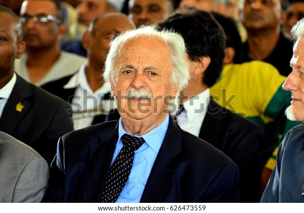 Johannesburg, RSA - March 29, 2017:  George Bizos attending Ahmed Kathrada funeral at Westpark cemetery.
