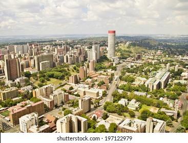 Johannesburg Skyline Areal view