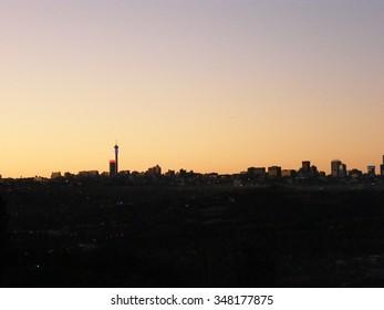 Johannesburg skyline at dawn