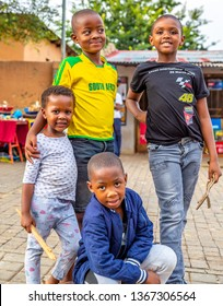 Johannesburg, South Africa- 03.05.2019:  African kids Smiling Laughing in Africa