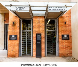 Johannesburg, South Africa- 03.05.2019:Apartheid Museum Entrance  in Johannesburg. The Apartheid Museum is dedicated to illustrating apartheid and the 20th century history.